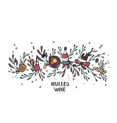 Set of mulled wine elements and objects vector