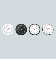 set of realistic classic black white and silver vector image