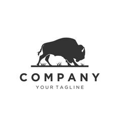 silhouette bull logo designs vector image
