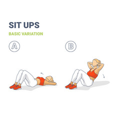 Sit up woman workout exercise guide colorful vector