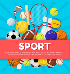 Sport poster design of different equipment on vector