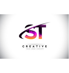 St s t grunge letter logo with purple vibrant vector