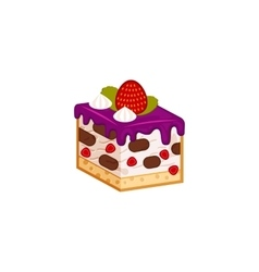 Strawberry and chocolate yogurt cake vector