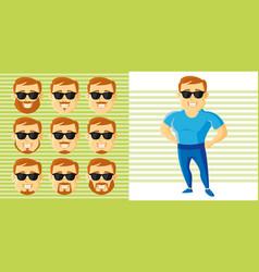 Summer style man face set cartoon character vector