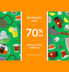 tea kettles cups sale vector image