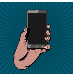 The Hand Holding the Smartphone as in a Comic Book vector image