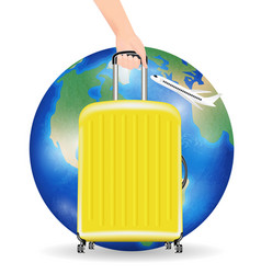 travel around world with airplane and bag vector image