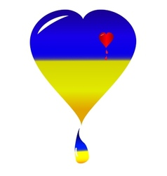 Ukraine heart nacional flag vector