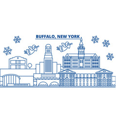 Usa new york buffalo winter city skyline merry vector
