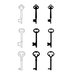 vintage keys set of 3 vector image