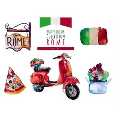 Watercolor Italy Rome set hand draw vector