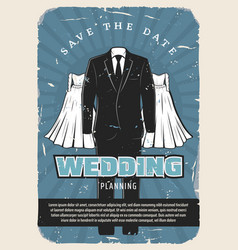 wedding retro poster with bridal dress and suit vector image