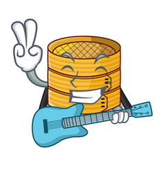 With guitar bamboo steamer food isolated on mascot vector