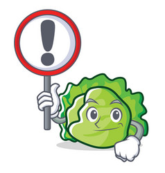 With sign lettuce character cartoon style vector