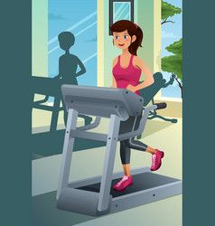 Woman running on a treadmill in a gym vector