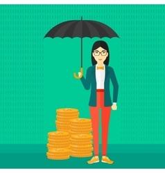 Woman with umbrella protecting money vector