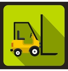 Yellow stacker loader icon flat style vector