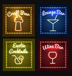 bar or barrel shop neon sight set vector image vector image