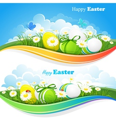 Easter colored backgrounds vector image vector image