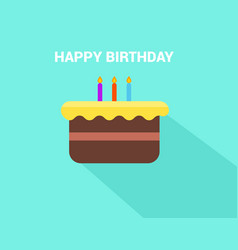 flat birthday cake with happy birthday text vector image