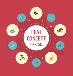 Flat icons rooster horse jackass and other vector