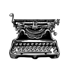 Hand-drawn vintage typewriter writing machine vector