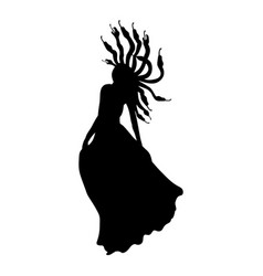 medusa gorgon silhouette ancient mythology fantasy vector image