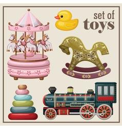 Set of vintage toys vector