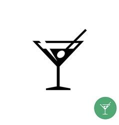 Triangle martini cocktail glass black simple icon vector image