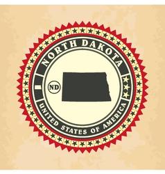 Vintage label-sticker cards of North Dakota vector image