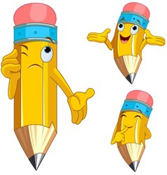 cartoon pencil character vector image
