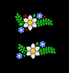 flowers and leaves set on black background vector image