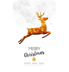 Gold Christmas and new year deer low poly art vector image