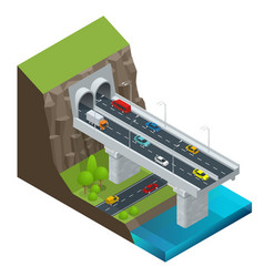 isometric modern road tunnel in the mountain vector image
