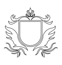 shield decoration royal heraldic ornament line vector image