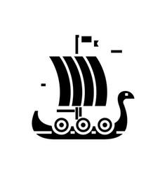 ship wooden viking icon vector image