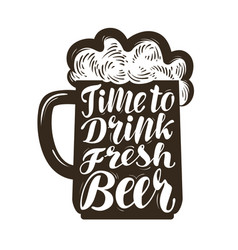 mug of ale symbol time to drink fresh beer vector image vector image