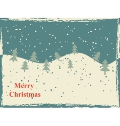 Retro Christmas card with snow hills and trees vector image