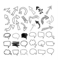 Speech Bubbles and Arrows Handdrawn Set vector image vector image