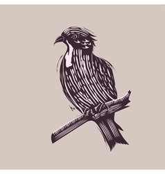 Bird in Hand Drawn Style vector image