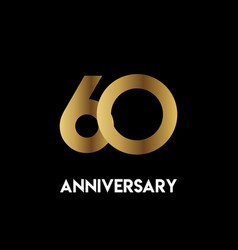 60 year anniversary simple template design vector