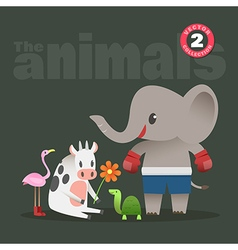 animals cartoon elephant cow turtle flamingo vector image