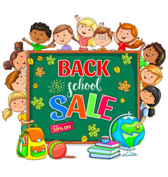 back to school sale with school board and vector image