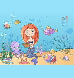 Beautiful cute little siren mermaid with vector