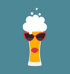 beer glass with sunglasses vector image
