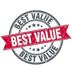 Best value red round grunge vintage ribbon stamp vector