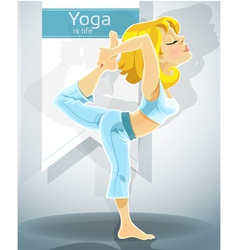 Blond girl in yoga pose Nataradzhasana vector image