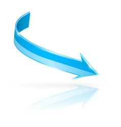 blue bent arrow 3d vector image