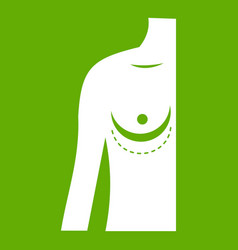 breast implant surgery icon green vector image