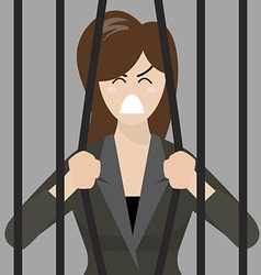 Business woman try to escape from prison vector